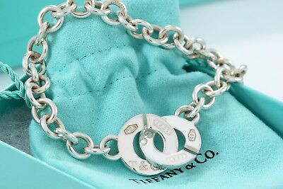 """Tiffany & Co. 1837 Sterling Silver Circle Clasp Toggle 7.5"""" Bracelet Packaged"""