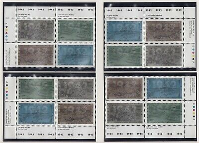 CANADA MATCHED SET PLATE BLOCKS 1448-1451MNH 42c x 16 SECOND WORLD WAR - 1942