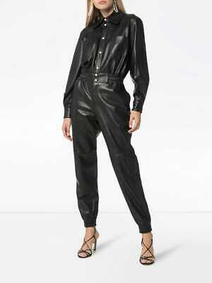 Women Fashion Jogger Style Jumpsuit Overall Runway Natural Lambskin Leather