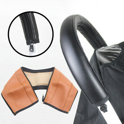 NE_ KQ_ Baby Stroller Faux Leather Armrest Handle Wheelchair Protective Zip Ca