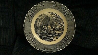 "Currier and Ives Dinnerware Blue 10"" Dinner Plate The Old Grist Mill Royal China"