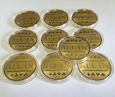 10x Gold Clad All In Poker Chips / Card Protector Bounty Tournament Chip Coin