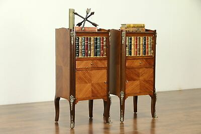 Pair of French Vintage Tulipwood End Tables or Nightstands, Leather Books #31861