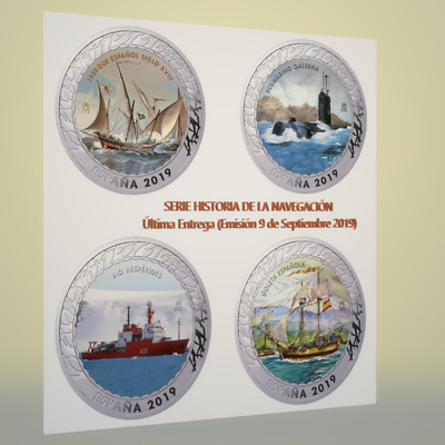 """1.5 € Spain 2019 History of Navigation """"Last Issue 4 Coins"""""""