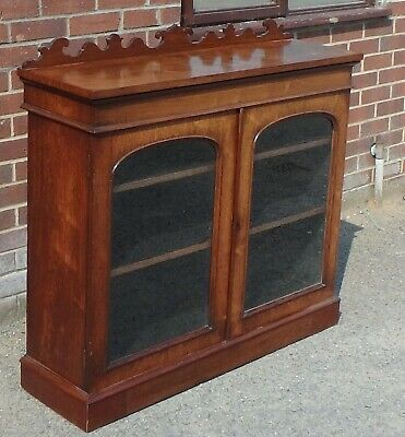 Early Victorian antique rosewood glazed adjustable library bookcase book shelf