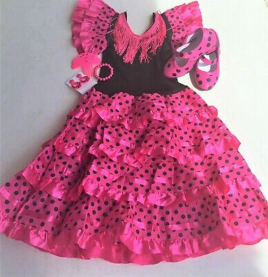 Traditional Girls Red or Pink Flamenco Dress & Shoes + Accessories