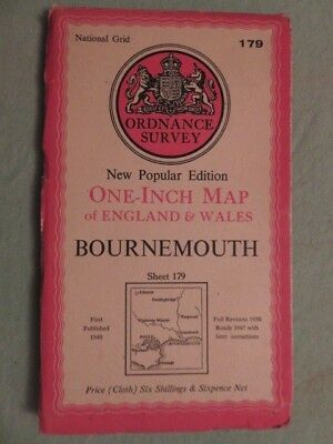 """Antique O/S 1""""/mile map Great Britain BOURNEMOUTH (1940) sheet 179"""