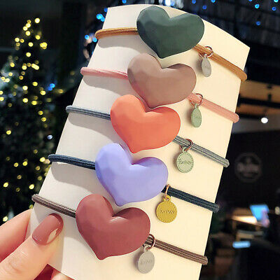 Cute High Elastic Rubber Band Girls Matte Big Heart-shaped Hair Ring Hair Ropes