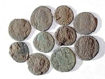 10 ANCIENT ROMAN COINS AE3 - Uncleaned and As Found! - Unique Lot 21739