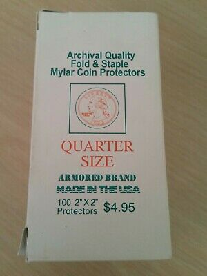 "100 Quarter Size Archival Quality Fold And Staple Mylar Coin Protectors 2"" X 2"""