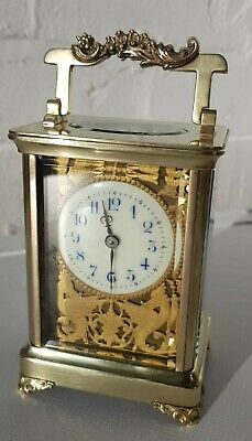Antique French Carriage Clock Gilt Filigree Dial  Working Order