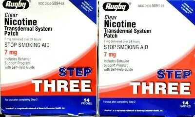Nicotine Patches Step 3 Clear 7mg. Rugby 28 patches exp.2021