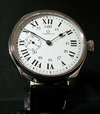 OMEGA ANTIQUE 1920's Large Steel Wristwatch EXHIBITION BACK