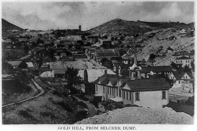 Gold Hill,Belcher dump,Comstock Lode,buildings,streets,towns,Nevada,NV,c18 8825