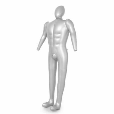 Male All Body Top Shirt Display Inflatable Silver Mannequin Dummy Torso Model