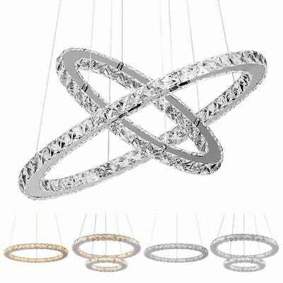 Modern Galaxy Crystal Chandeliers LED Ring Light Adjustable Pendant Ceiling Lamp