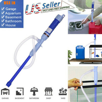 Handheld Liquid Transfer Gas Oil Fish Tank Siphon Water Pump Battery W/Tube Blue