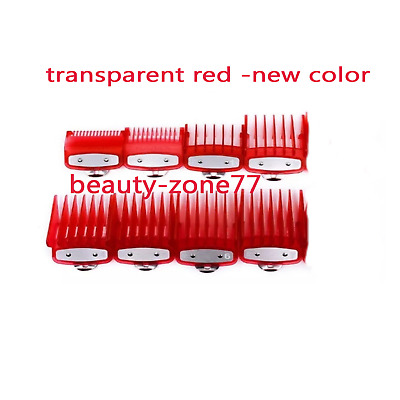 barber Cutting Hair Clipper Premium Guides Combs metal clip red color 8 pcs