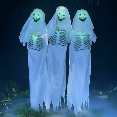 Halloween Animated Lifesize Ghost Trio Moves Sound Prop Decoration Haunted House