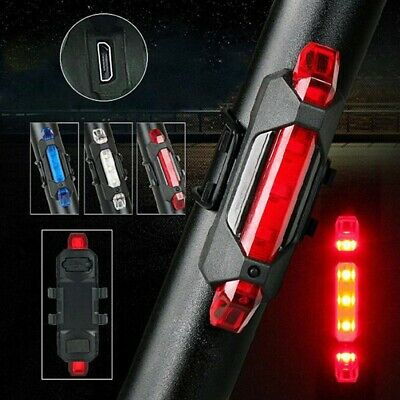 5 LED USB Rechargeable Bicycle Safety Cycling Warning Rear Lamp Bike Tail Light