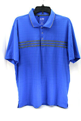 Adidas Mens 3 Stripes Chest Polo Shirt Golf Puremotion Climacool NWOT Blue Sz M