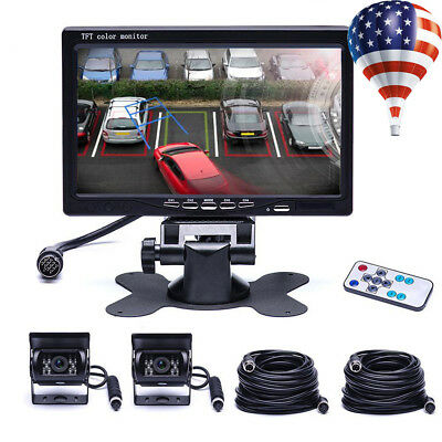 "2x 18IR Backup Rear View Camera Kit + 7"" Quad Split Monitor For Car RV Truck Bus"