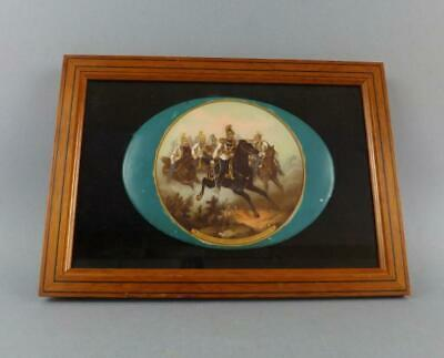 Antique Large Sevres Porcelain Hand Painted Plaque with Military Scene