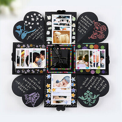 DIY Surprise Explosion gift Box Memory Scrapbook Photo Album Anniversary black
