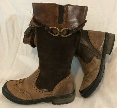 Girls Primigi Brown Leather Boots Size 33 (770v)