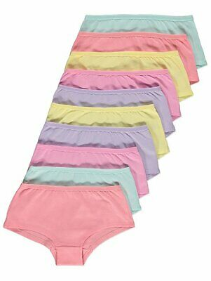 Girls PASTEL SHORTS 10 Assorted Knickers Pants Age 1-14  Underwear 100 % Cotton
