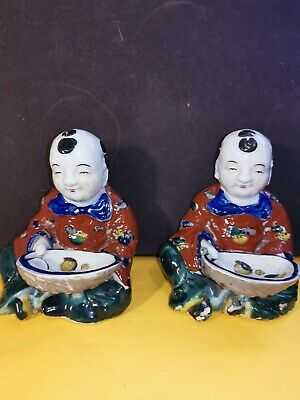 Antique Japanese Kutani Imari Meiji Porcelain Painted Pair Figurines Men Seated