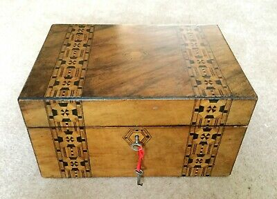Antique Victorian Tunbridge Marquetry Box, fully lined and fitted, with keys