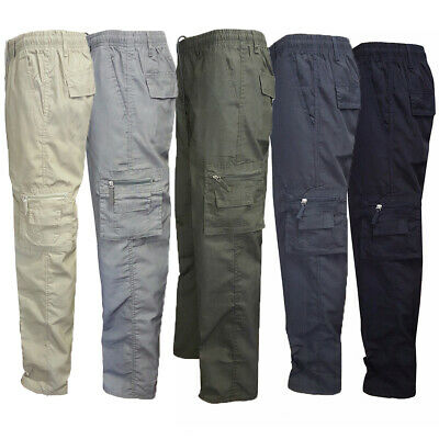 Mens Elasticated Cargo Combat Trousers Summer 7 Pockets Lightweight Work Pants