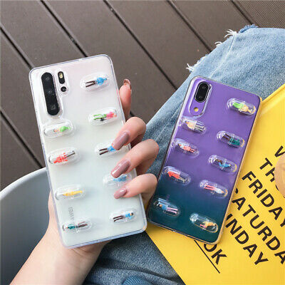 Shockproof 3D Clear Cute Pill Pattern Soft Rubber Case Cover For Huawei Phones