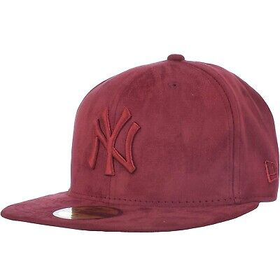 New Era New York Yankees MLB 59FIFTY Suede Fitted Baseball Cap Hat Maroon - 71/4