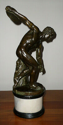 Antique Bronze Copy of the Discobolus of Myron (19th c. French) on Marble Plinth