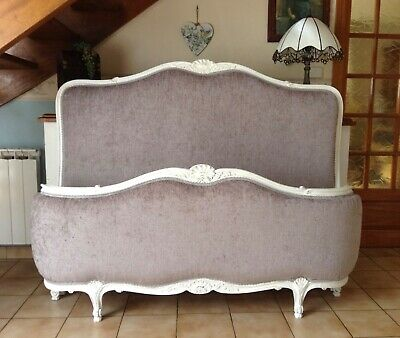 Beautiful Vintage French Corbeille Double Bed Frame - Gold - Grey Upholstery