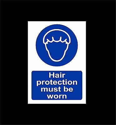 Hair protection must be worn sign or sticker, choice of size - hairnet, catering