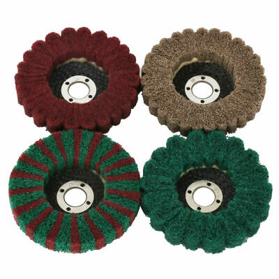 4pcs 4 Inch Nylon Fiber Flap Wheel Disc Polishing Buffing Pad Parts For Grinder