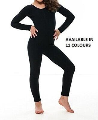 New Kids Girls Shiny Lycra Long Sleeve Footless Catsuit Dance Gymnastics Leotard
