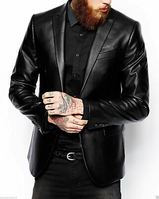Mens Black Blazer Real Genuine Leather Coat Jacket Classic Stylish Leather Coat