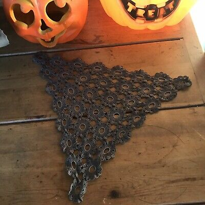 Halloween Antique Irish Linen Hand Dyed Gray Crochet Lace Triangle Table Cover