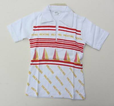 vintage New with tags Yachting top age 6 - 7 red white boats 70's