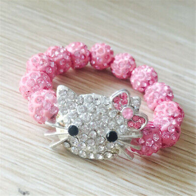 Cute Hello Kitty Bracelet Crystal Head Ball Rope Bangles Jewelry Gift for Girls