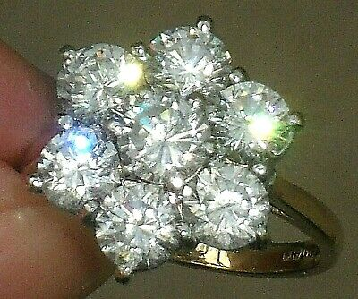 ART DECO STYLE VINTAGE 3.50ct IMPRESSIVE WHITE PASTE 9ct GOLD DAISY CLUSTER RING