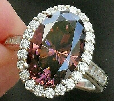 Absolutely Beautiful Pink Tourmaline Style Oval Cut Genuine Diamonique Halo Ring