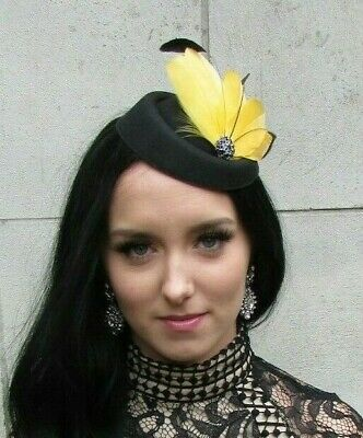 Black Mustard Yellow Feather Pillbox Hat Hair Clip Fascinator Races Wedding 7474