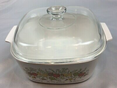 Vintage CORNING WARE Pyrex SPICE OF LIFE 5 Quart Casserole Dish High Dome Lid