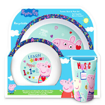 Official Peppa Pig Play Cool 3 Piece Plate Bowl And Cup Dinner Set