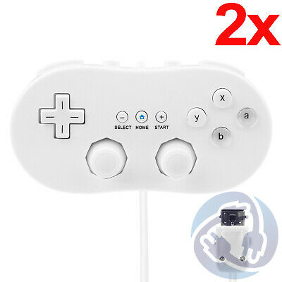 2X 2-Pack Wired Classic Controller Gamepad For Nintendo Wii Remote White